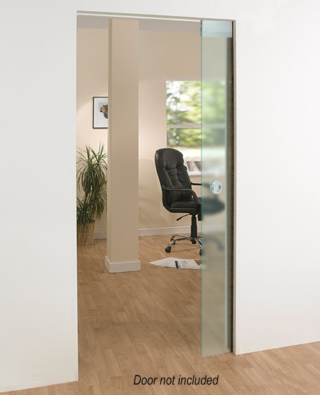 A glass pocket door in a modern home, with an office chair and a plant in the background