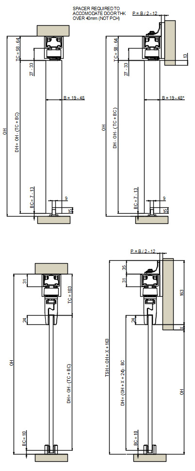 EVOLVE Automatic sliding door gear - cross section dimensions