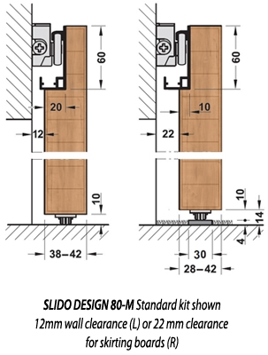 SLIDO 80-M sliding door gear - cross section dimensions