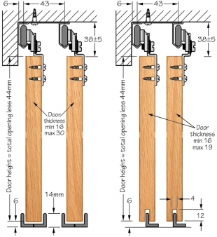 SAHECO SF-30 top hung wardrobe sliding kit - cross section dimensions