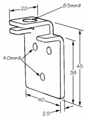 SAHECO 4059 sliding door bracket, dimensions