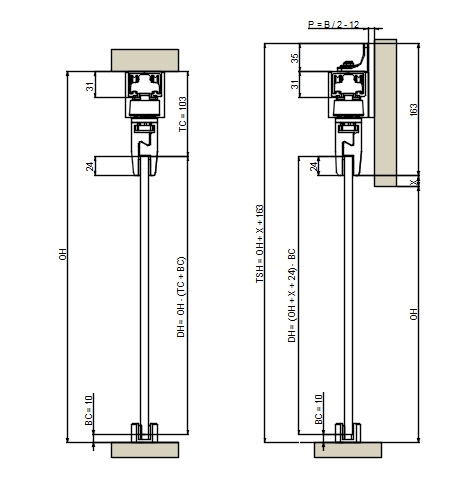 EVOLVE Automatic sliding door gear - glass door cross section