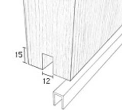 S1702 Plastic protective channel for bottom of sliding doors, dimensions
