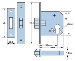 Imperial Locks G7006 mortice sliding euro lever lock, dimensions