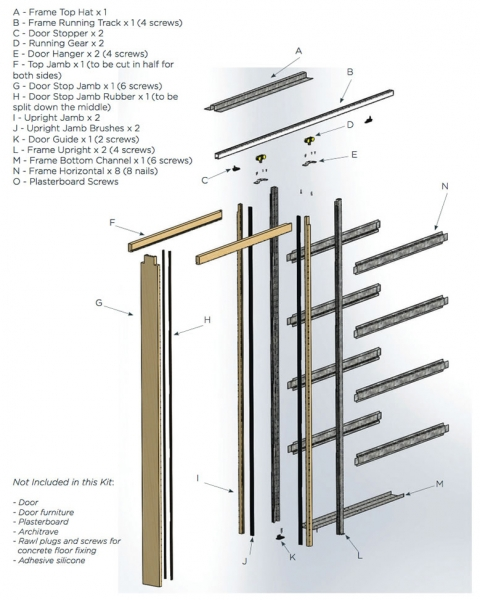 iMpero Slide pocket door kit - components