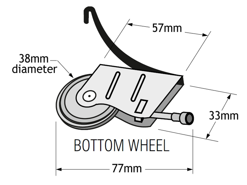 PCH-CE-80 Replacement wheels for sliding wardrobe doors - dimensions