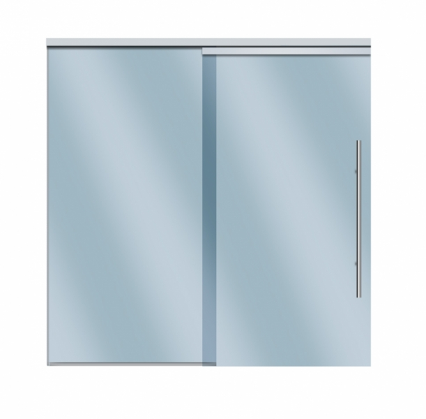 Compact-X Soft Brake Fixed Panel System for glass - 1 fixed panel, 1 sliding door