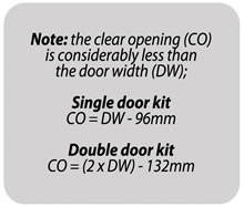 iMpero fire rated FD30 pocket door gear - clear opening size