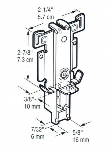 N-6551 Replacement bottom guides for wardrobe door - dimensions