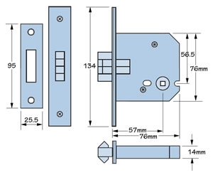 Imperial Locks G8028 Mortice Sliding Bathroom Door Lock