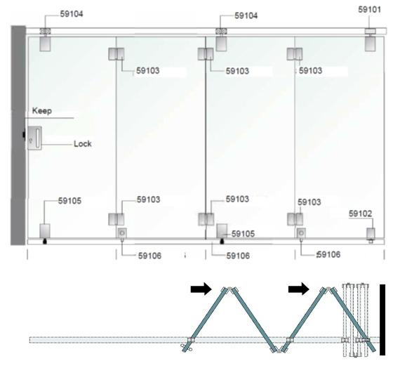 crystalline ef60 sliding    folding gear for frameless