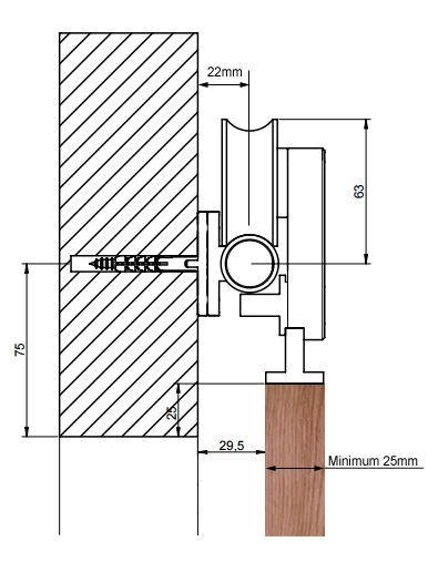 Projeto Xtra Designer timber sliding door gear - dimensions