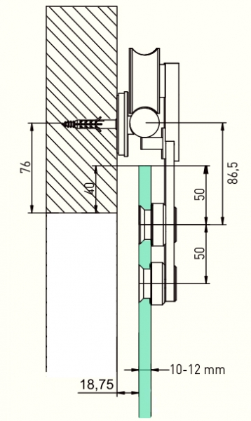 Projeto Xtra G designer sliding door gear for frameless glass - cross section dimensions