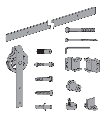 Rustico 80G barn style timber sliding door kit - door pack components
