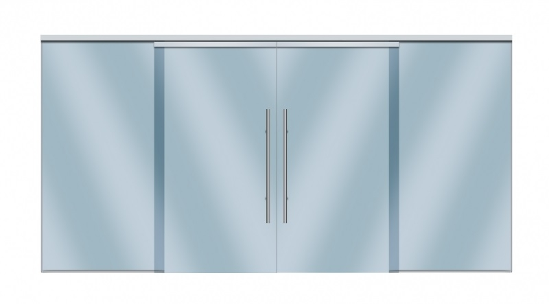 Compact-X Soft Brake Fixed Panel System for glass - 2 fixed panels, 2 sliding doors