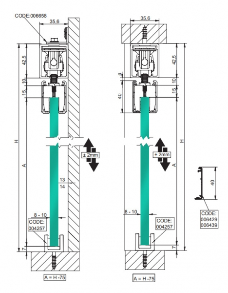 SAHECO Roller 90 for Frameless Glass Doors with Soft Brake - cross section dimensions