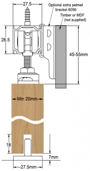 SAHECO SF-44 sliding door gear - cross section dimensions