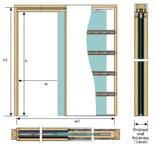 iMpero Slide Pocket Door Kit for Frameless Glass   Sliding