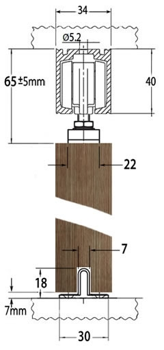 GEZE Perlan 140 timber sliding door gear, cross section